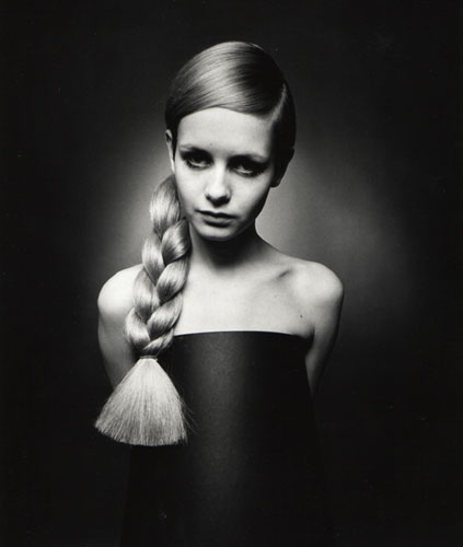 Twiggy with plait (1966) by Barry Lategan