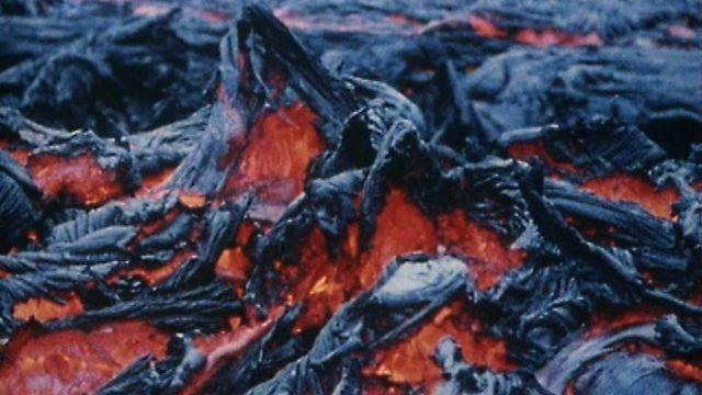Attenborough on basalt lava