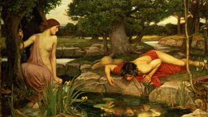 Painting of the story of Narcissus,