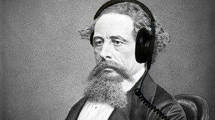 Charles Dickens with headphones
