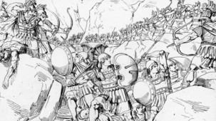 Illustration of the Battle of Thermopylae,