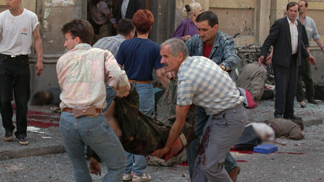Many are wounded after a second mortar bomb blast in Sarajevo
