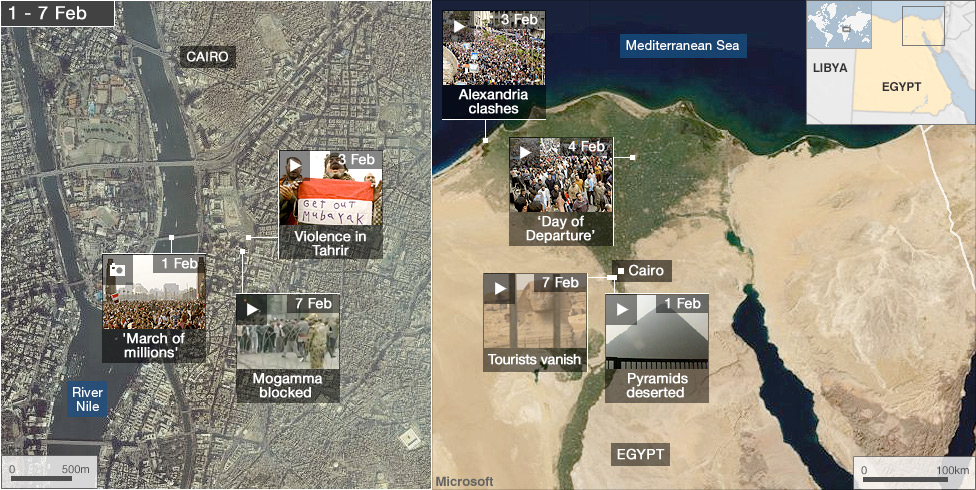 BBC News Egypts Revolution Interactive Map - Map of egypt holiday resorts