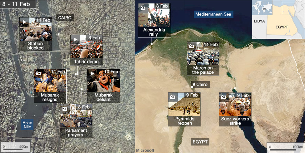 BBC News Egypts Revolution Interactive Map - Egypt interactive map