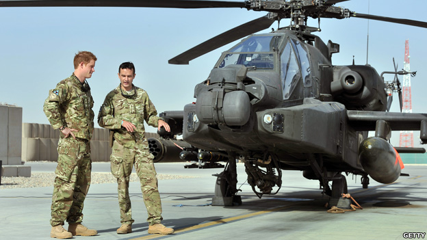 Prince Harry at the helicpter base