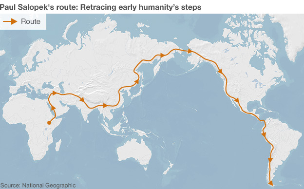 Map of world showing man's migration