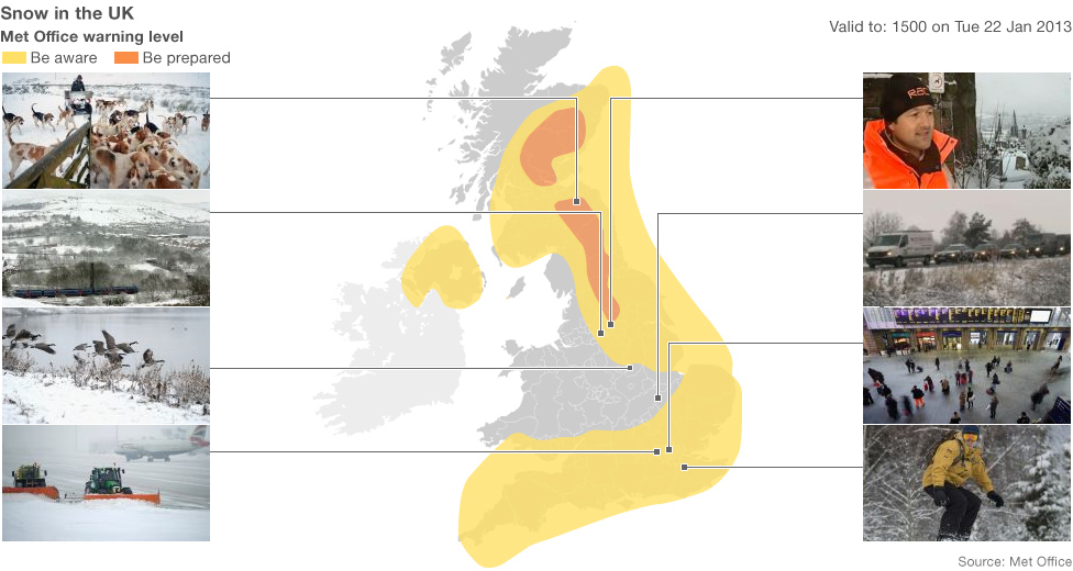 UK map showing snow and ice warnings