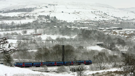 Train in the snowy countryside