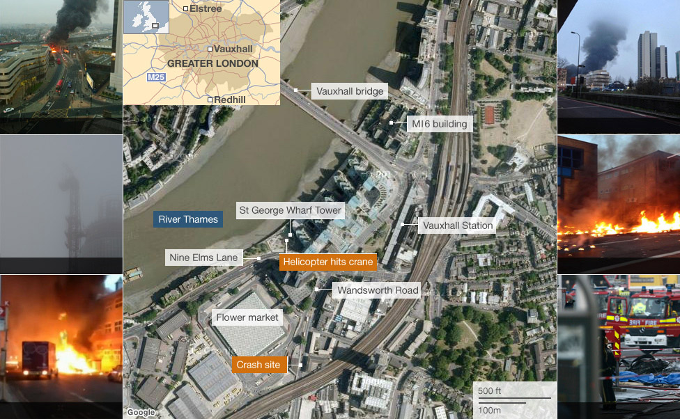 Map: Vauxhall helicopter crash
