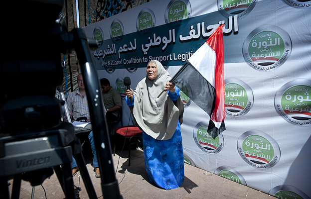 A woman with a flag