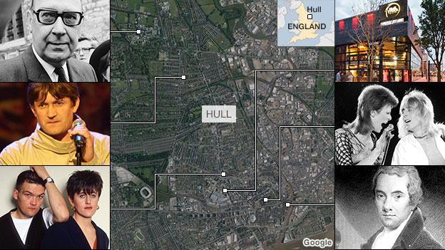 Satellite image of Hull with thumbnails of famous residents