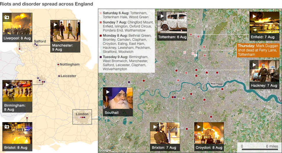 Bbc news england riots timeline and map of violence england riots maps and timeline sciox Gallery