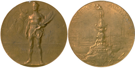 1920 olympic medal. Image courtesy of IOC