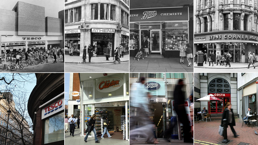 A selection of old and new photos of shop fronts