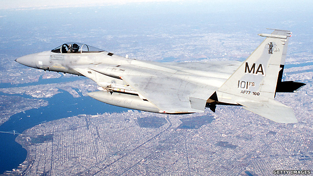 F-15 fighter jet over New York