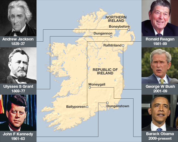 Why Are US Presidents So Keen To Be Irish BBC News - Ireland on us map
