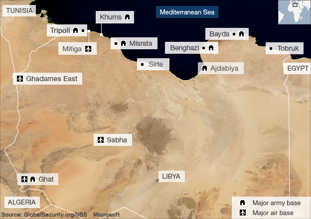 maps of libya. Libya, military bases map