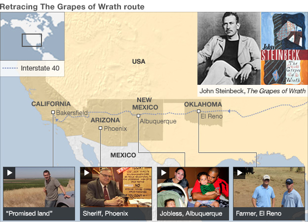 Map: Retracing the Grapes of Wrath Route