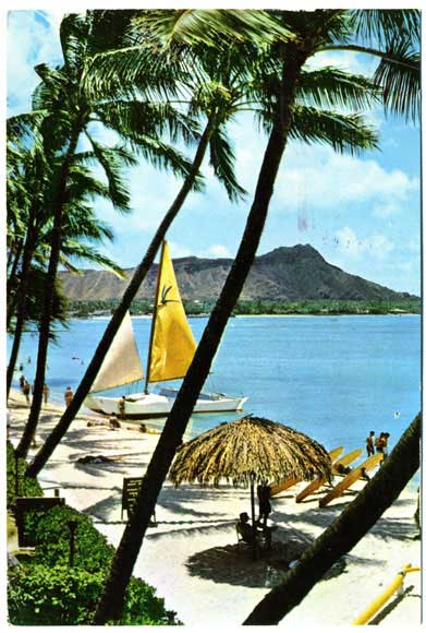 pentathol postcard from Hawaii, front