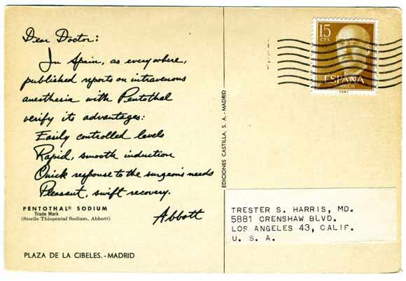 pentathol postcard from Spain, rear view