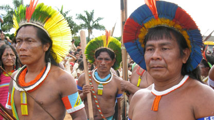Some of the Kayapo men in warrior dress during the Altamira protest.