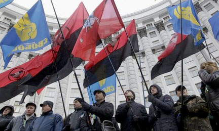 Nationalist protestors in Ukraine.