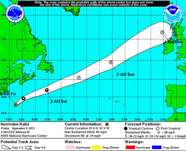 hurricane katia 4 day forecast cone and track
