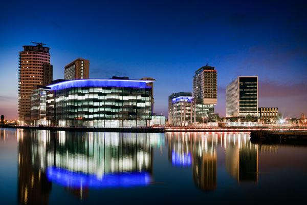 The new MediaCityUK building at night