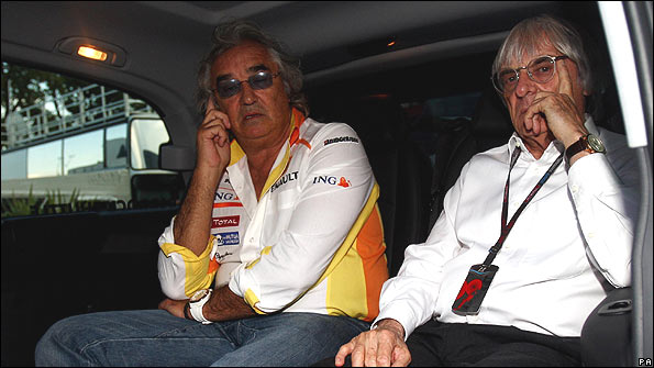 Flavio Briatore and Bernie Ecclestone at last weekend's Italian Grand Prix