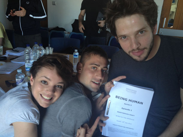 Picture of three actors from Being Human at a script read through