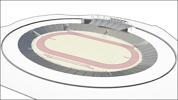 Image of the Olympic Stadium if the original legacy plan went ahead
