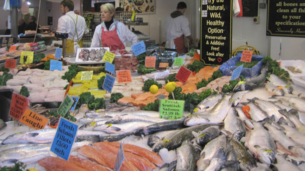Bolton market fish counter
