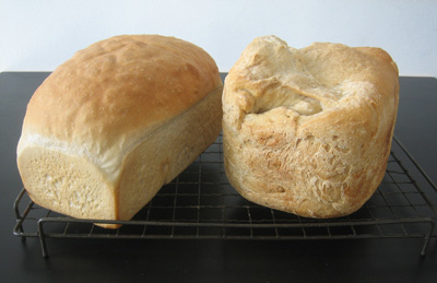 Disappointing hand-made loaf and misshapen bread machine loaf
