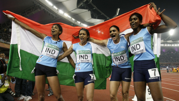 Ashwini Akkunji (left), Sini Jose (far right) and Mandeep Kaur (second from right) won Commonwealth golds