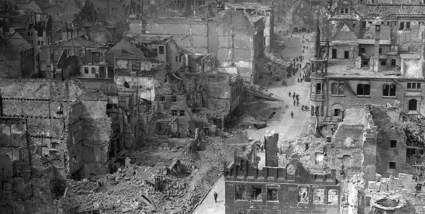 Nuremberg in 1945 after it was heavily bombed by the Allies. Getty Images