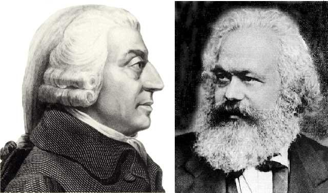 Image result for adam smith and karl marx