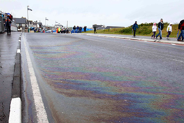 Oil spill from the Superbike race
