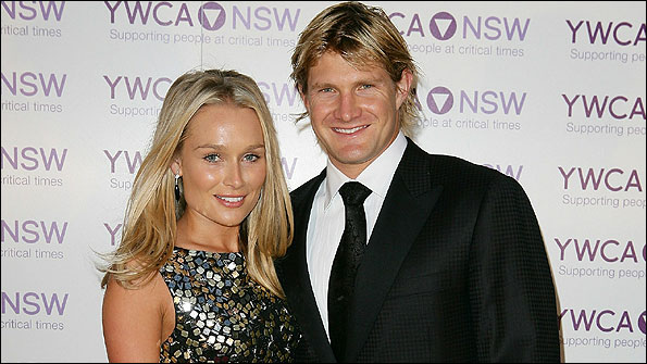 Watson pictured at a function with wife Lee Furlong
