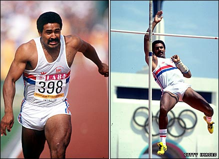 Daley Thompson on his way to winning gold at the 1984 Los Angeles Games