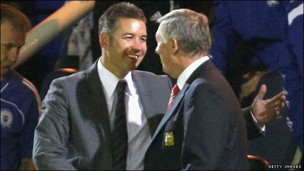 Darren Ferguson (left) and father Sir Alex