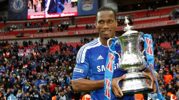 Didier Drogba celebrates winning the FA Cup