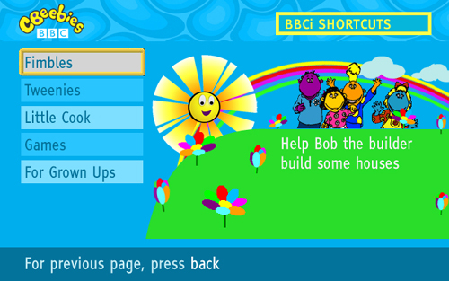 CBeebies homepage on cable in 2007