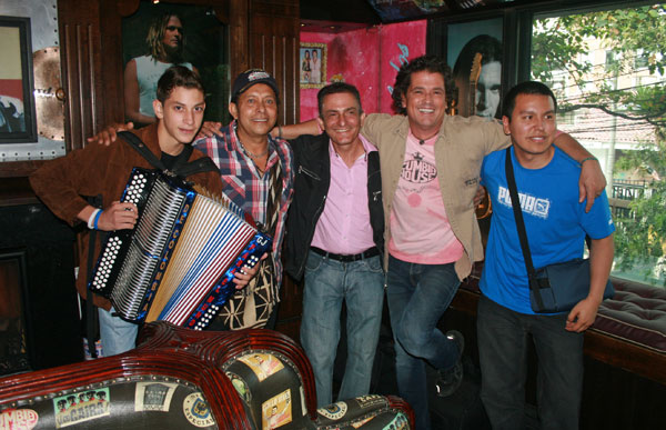 José with Vallenato pop star Carlos Vives at his restaurant, Gaira Café in Bogota