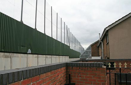 Protection, a photograph of a Belfast peace line by Grytsje Klijnstra from flickr.com