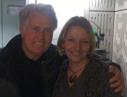 Martin Sheen and Desert Island Discs producer Leanne Buckle in a Broadcastng House studio in February 2011.