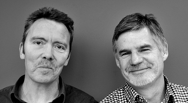 Bill Whiteford and John Beattie photographed halfway through their Movember challenge