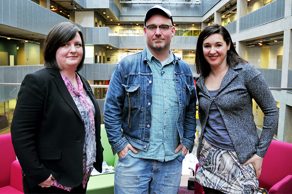 Photographs from the Glasgow International Festival of Visual Arts evening at BBC Scotland - from left to right festival director Katrina Brown, artist Robbie Thompson with Book and Culture Cafe presenter Clare English.