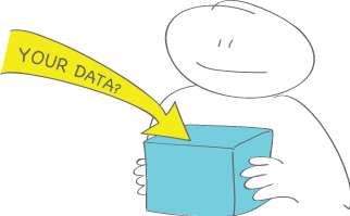Drawing of a person holding a box with an arrow pointing at it labelled 'Your data'