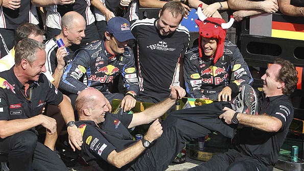 Adrian Newey celebrates with Red Bull at the Brazil Grand Prix