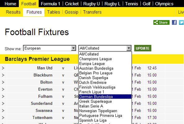 How to access European football statistics on BBC Sport